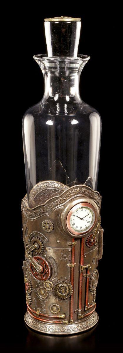 Steampunk Bouteilles Support Avec Horloge Déco Bouteille Fantasy Coultre
