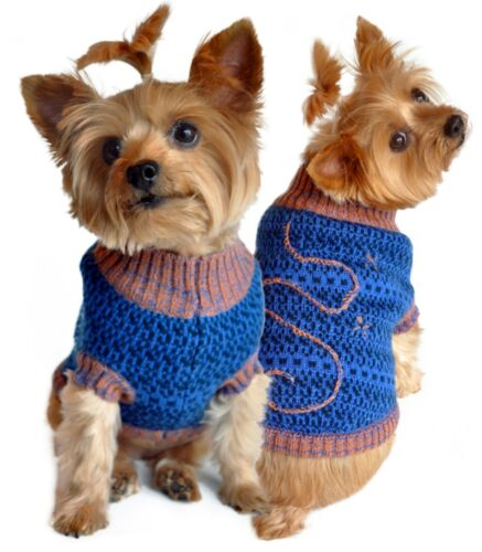 NEW Blue Brown Starry Night Mockneck Dog Sweater Pet Clothes Choose Size