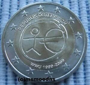 Oesterreich 2 Euro 2009 Uem Emu 10 Jahre Wwu Gedenkmünze Euromünze