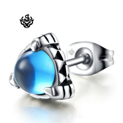 Silver stud blue cz claw earring stainless steel SINGLE soft Gothic fashion cool