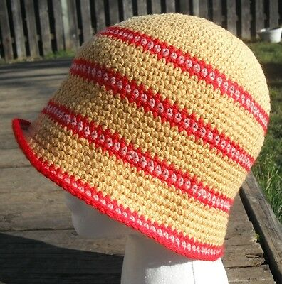 Red and Yellow Stripe Medium Size Cotton Cloche - Handmade by Michaela