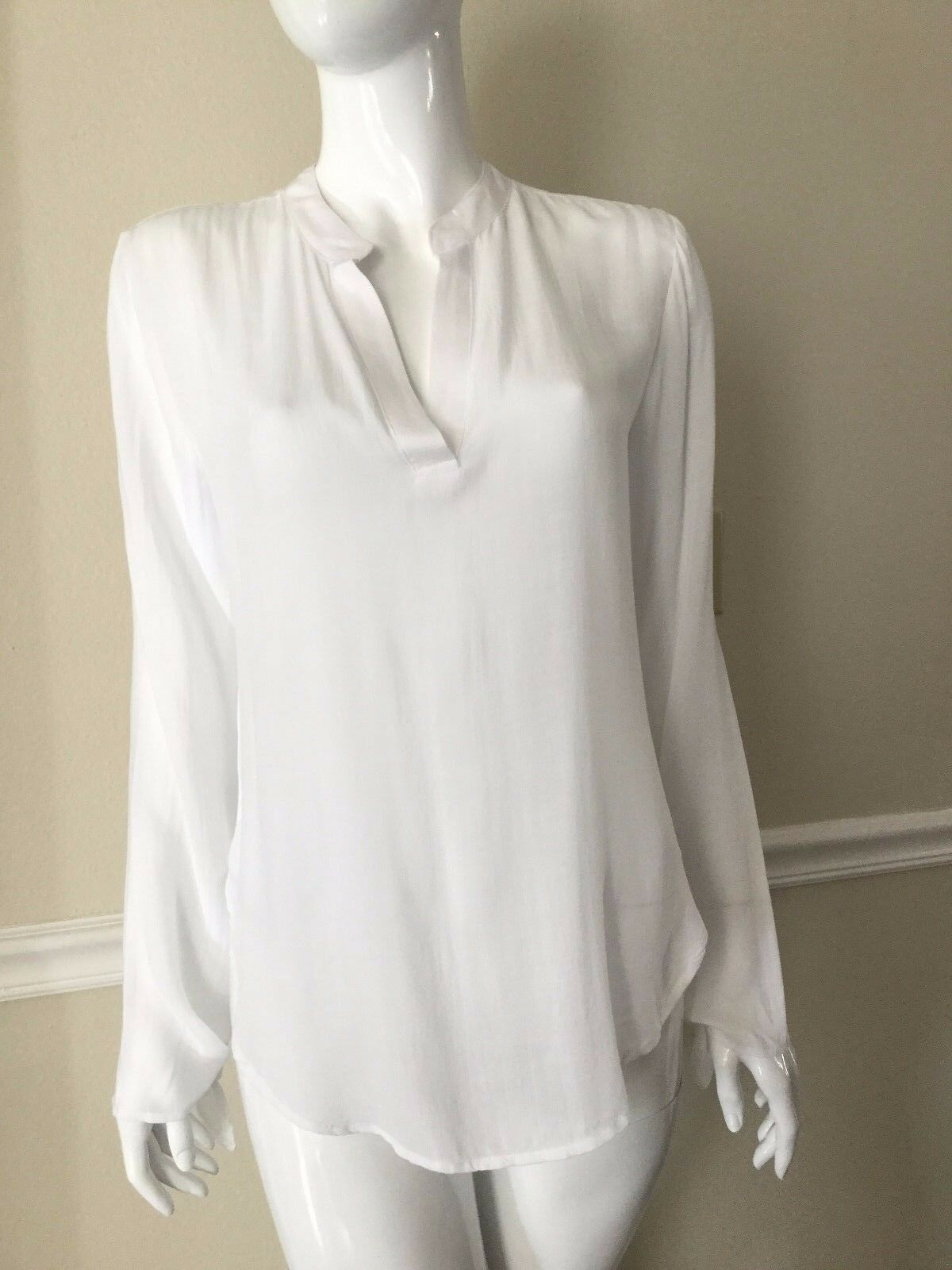 NEW CLOTH & STONE damen SzL SPLIT SLEEVE HENLEY TUNIC Weiß