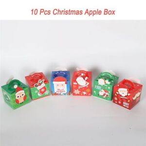 Noel-Pomme-Boites-A-faire-soi-meme-Paper-Box-Noel-Candy-Sac-Vacances-d-039-Hiver-Outil-10pcs-NEUF