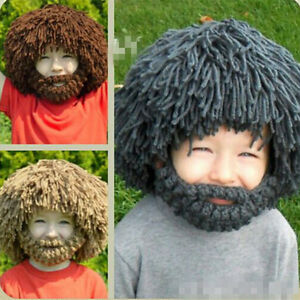 Winter Wigs Beard Hat Barbarian Crochet Beanie Cap Cospaly For Kid