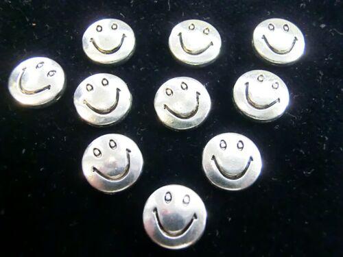 10 abalorios metálicos spacer Smile Happy Face color Antik plata 10x3mm #s063