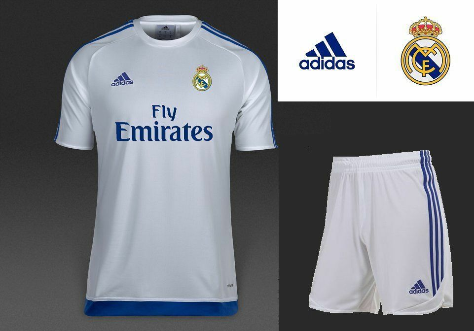 02aa76da615 RONALDO 7 BALE 11 BENZEMA 9 adidas REAL MADRID Set Boys Kids Jersey Shorts