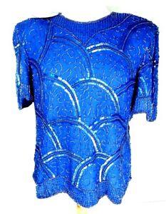 Vintage-Laurence-Kazar-Beaded-Top-Sz-S-Small-Blue-100-Silk-Sequin-Blouse