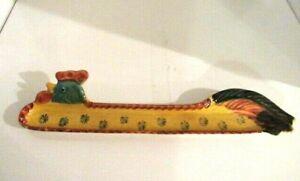 RARE-Italian-Art-Pottery-Hand-Painted-16-034-Chicken-Spoon-Rest-Italy