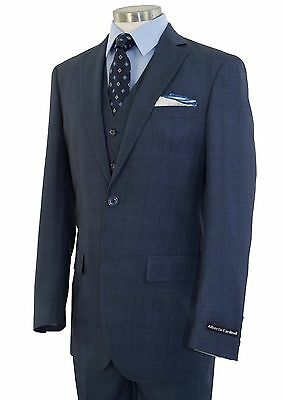 Men/'s Blue Checkered Flannel 3pc 2 Button Modern-Fit Suit NEW w// Matching Vest