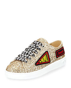 24bb5eca06a Image is loading Miu-Miu-Glitter-Sneakers-with-Patches-Gold-Size-