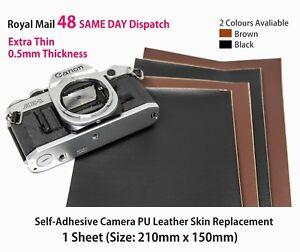 Camera-Body-Recovering-PU-Leather-Self-Adhesive-Sheet-BLACK-Repair-DIY