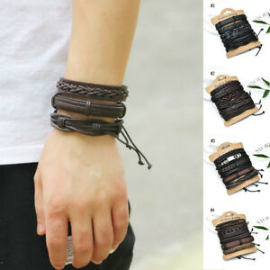 6pcs-set-Fashion-Mens-Punk-Leather-Wrap-Braided-Wristband-Cuff-Bracelet-Bangle