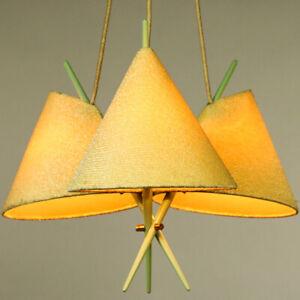 Rupert-Nikoll-Pendel-Leuchte-Chinesen-Hut-Haenge-Lampe-lindgruen-Vintage-50er