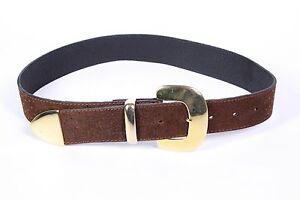 Gürtel Aufstrebend G318 damen Gürtel Leder Braun 70-75 Cm Taillengürtel Straußen-look Nubuk Kleidung & Accessoires