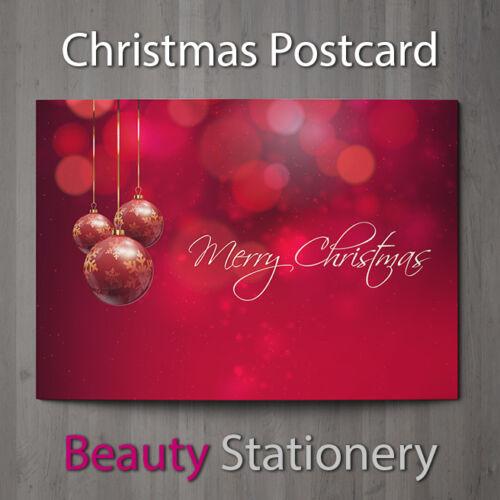 Cartes de Noël haute qualité sans enveloppe A6 Taille Brillant Front boules rouges