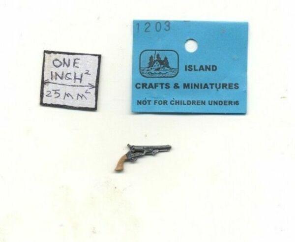 Dollhouse Miniature Navy Colt Handgun Revolver 1:12 Scale Painted Metal Prop
