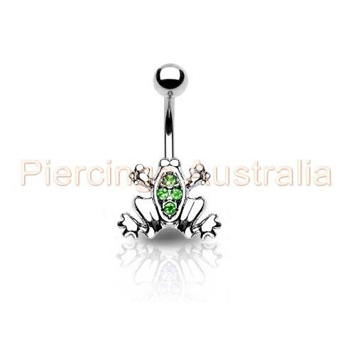 Gem Frog Belly Button Bar Navel Ring Body Piercing Jewellery