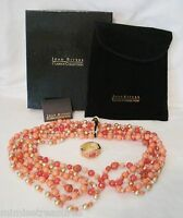 Qvc Joan Rivers 3 Coral Peach Czech Beads 44 Wardrobe Enhancer Gold Tone