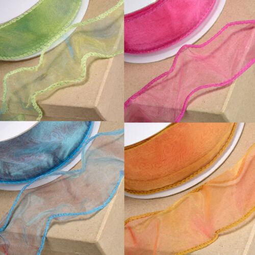 Tono 2 Carrete completa de Cinta de Organza 25m X 50mm Cinta Craft Azul Púrpura Oro Rosa