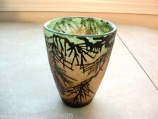Gorgeous Cameo Glass Tumbler W/Pinecone Motif Over Molted Green to White Body