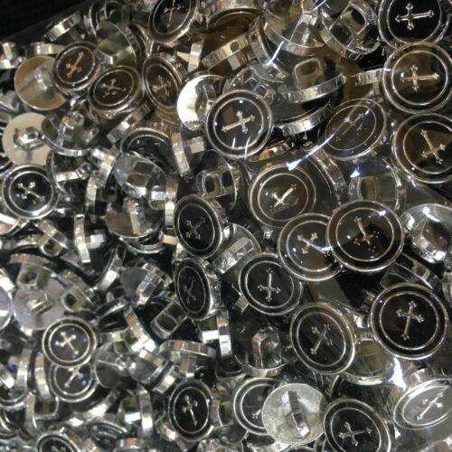 50 x dress shirt buttons black with silver trim shank on back 13mm cross style