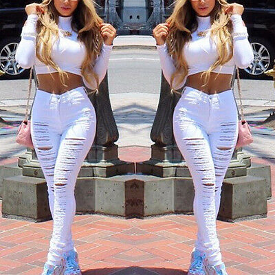 Sexy Skinny for Women Ripped Denim Pants Slim Hollow holes Jean Trousers Tights