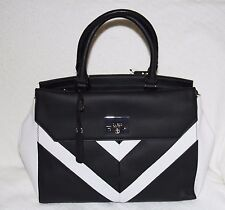 Authentic GUESS Women's  Fireside Chevron Satchel Black Multi - NWT