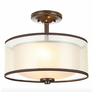modern semi flush mount drum light lighting lamp ceiling. Black Bedroom Furniture Sets. Home Design Ideas