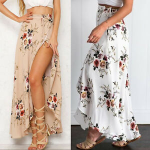 3c6e03ac32658 Details about Boho Gypsy Women Floral Long Maxi Skirt Casual Summer Split  Beach Wrap Sun Dress