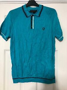 Ben-SHERMAN-Blu-T-Shirt-Taglia-Media-da-uomo-manica-corta-ottime-condizioni-G42