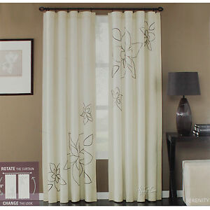Image Is Loading New Window Treatment Curtains One Panel Serenity Embroidered