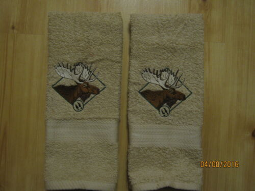 kitchen New 2 MOOSE Embroidered Hand Towels,Northwoods cabin decor bathroom