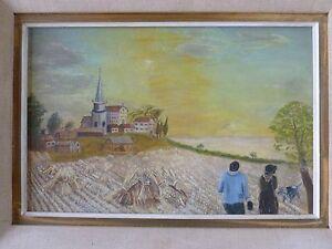 HUILE-SUR-TOILE-ART-NAIF-SIGNE-034-MERCI-SEIGNEUR-DEVOIR-ACCOMPLI-AOUT-73-034-au-dos