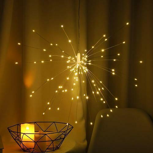 100-200LED Starburst Lights Firework Lamp USB Powered Outdoor Hanging Decor cgk