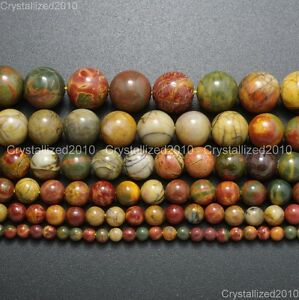 Natural-Picasso-Jasper-Gemstone-Round-Loose-Beads-4mm-6mm-8mm-10mm-12mm-14mm-16-034
