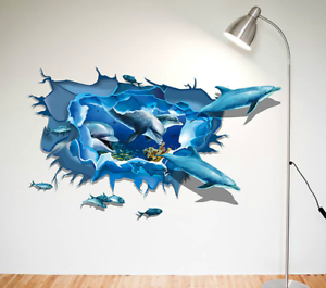 3D-Dolphin-Vinyl-Home-Room-Decor-Art-Wall-Decal-Sticker-Bedroom-Removable-Mural