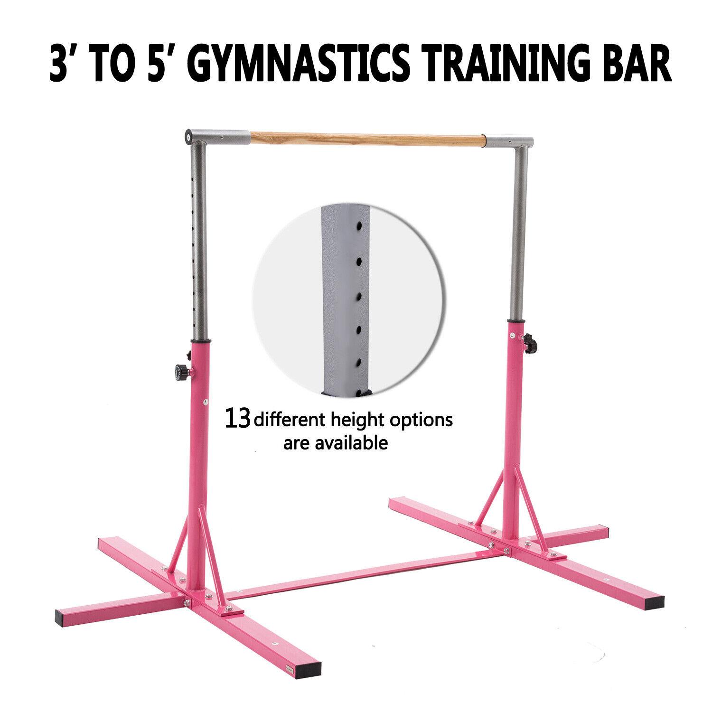 Pink Gymnast Training Bar Home Practice Indoor Sports Equipment Adjustable New