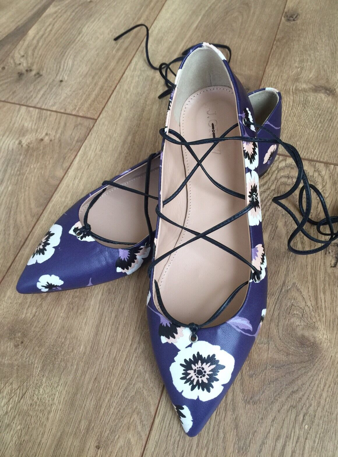 JCrew  158 Leather Lace-Up Ballet Flats 7 Midnight Poppy Navy shoes F0260 New