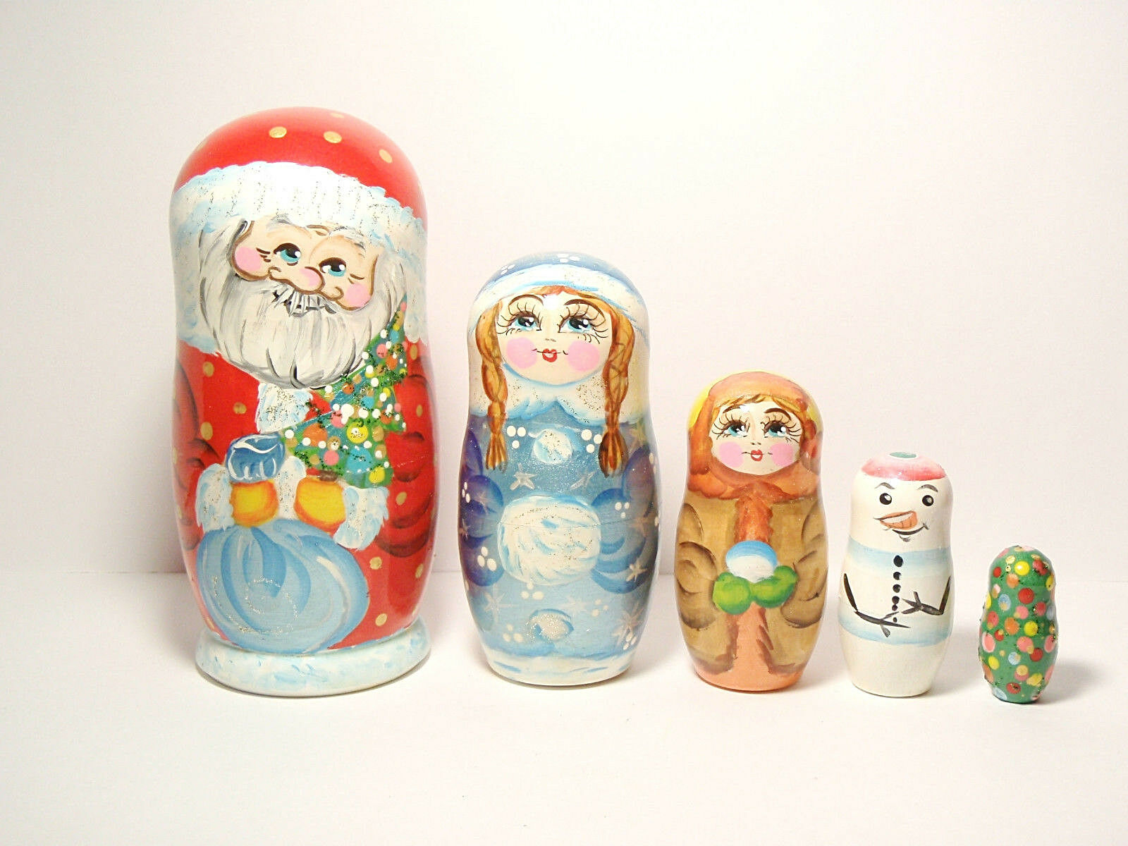 Nesting Doll - Santa Claus and Helpers, Matryoshka Doll 5 pieces 6.2  16cm