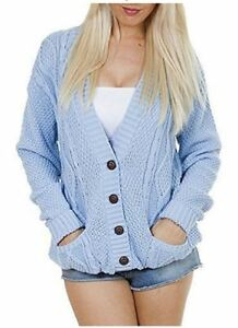 Details about Women Ladies Plus Size Chunky Cable Knit Button Long Sleeve Cardigan