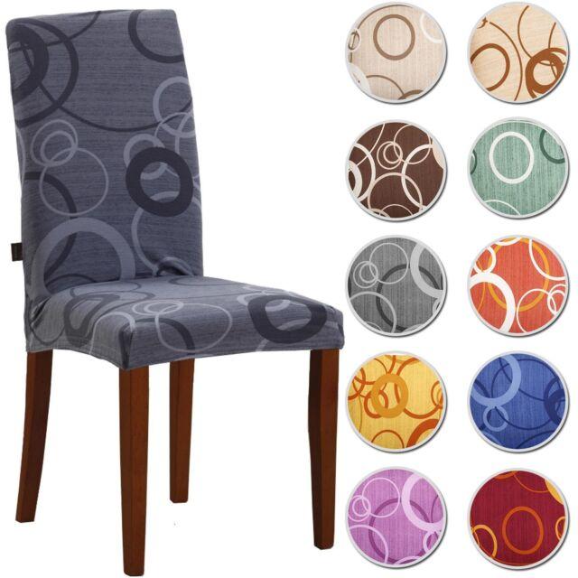 4 COPRISEDIA vesti sedia 4 pezzi CERCHI millerighe  ELASTICIZZATO 10 colori
