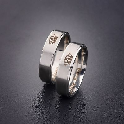 King and Queen Stainless Steel Ring Sets - His and Hers Couple Wedding Band Set