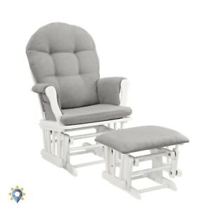 Details About Gliding Ottoman Feed Rocking Chair Nursery Rocker Wooden Chairs Mother And Baby