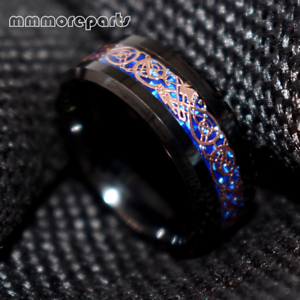 Black Tungsten Ring Rose Gold Celtic Dragon Blue carbon fibre Mens