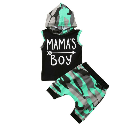 Toddler Kids Baby Boy Summer T-shirt Tops Hooded+Short Pants Outfit Set Clothes