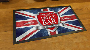 Personalised-with-your-name-Union-Jack-Chrome-beer-label-Beer-label-Bar-runner