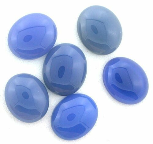 Four 12x10 12mm x 10mm Oval Blue Agate Cabochon Gem Stone Gemstone bac11