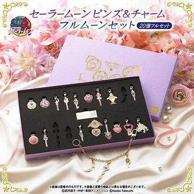 Premium Bandai Sailor Moon Pins and Charm Full Moon Set of 20 Japan Import