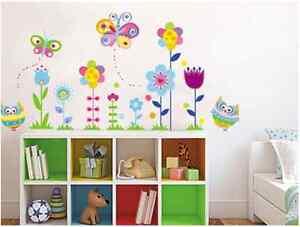 Das Bild Wird Geladen Wandtattoo Eulen Schmetterlinge Blumen Wandsticker  Aufkleber Kinderzimmer Deko