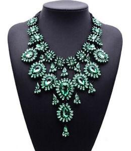 Rot Strass Blüte Glamour Design Statementkette Halskette Kette Collier schwarz